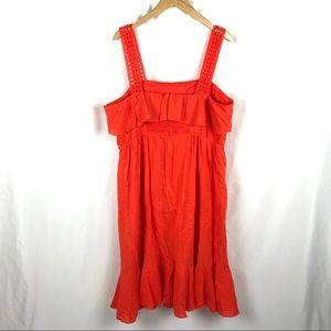 J. Crew Dresses - J. Crew ruffle eyelet sleeveless midi dress orange